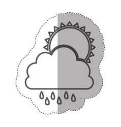 figure cloud rainning with sun icon vector image vector image