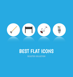 Flat icon farm set of tool barbecue grass-cutter vector