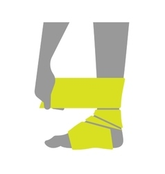 Flat icon injured leg or foot with a bandage vector
