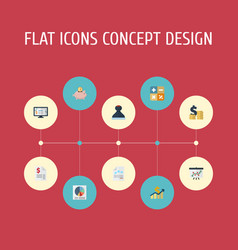 Flat icons duty coins pile paper and other vector