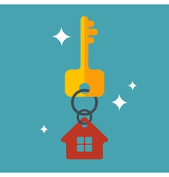 Flat with key and house tag isolated vector