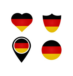 German flag symbols in heart shield circle vector