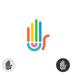 Hand colorful rainbow geometric linear style logo vector image vector image