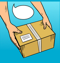 hands give package in box pop art vector image