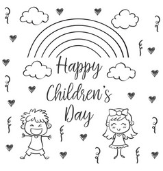 Happy children day hand draw collection vector