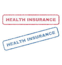 Health insurance textile stamps vector