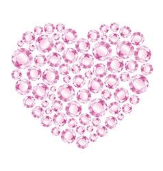 Heart of pink shiny diamonds vector