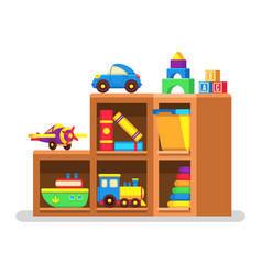 Kids toys on wood rack vector