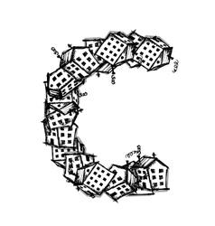 Letter c made from houses alphabet design vector