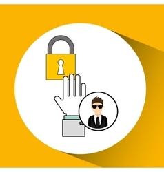 Man cartoon lock digital technology security vector