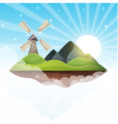 mill island mountain sun hill - vector image