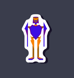Paper sticker on stylish background toy robot vector