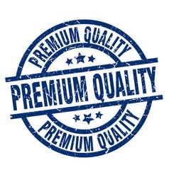Premium quality blue round grunge stamp vector