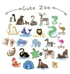 Set of Cute Zoo Animals A lot of different vector image vector image