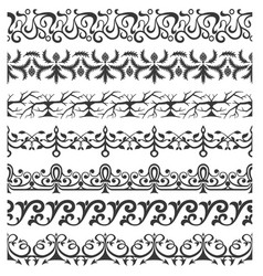 Set of seamless ornate brushes vector