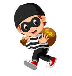 Thief cartoon carrying bag of money with a dollar vector