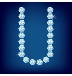 vector diamond alphabet lette u vector image vector image