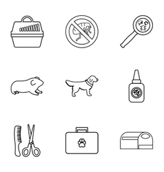 Veterinary things icons set outline style vector image vector image