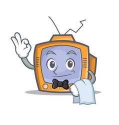 Waiter tv character cartoon object vector