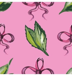 Watercolor seamless pattern with leaves and red vector image vector image