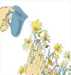 Watering Flowers vector image