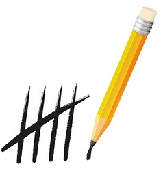 Yellow pencil and counting lines vector