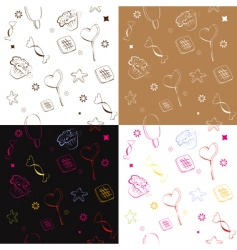 four seamless pattern with candies vector image
