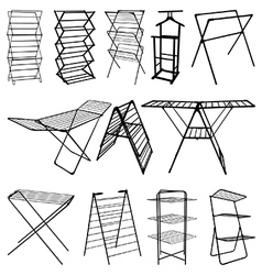 Clothes horse silhouettes vector