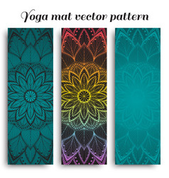 Set of yoga mat pattern vector