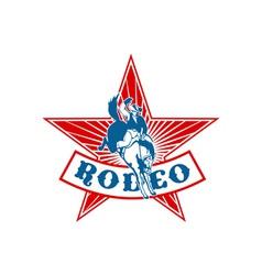 Rodeo cowboy bucking bronco vector