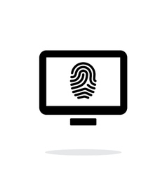 Desktop fingerprint icon on white background vector