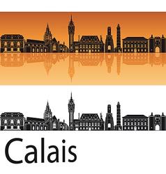 Calais skyline in orange background vector image