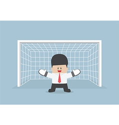 Businessman playing goalkeeper vector