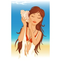 Young woman with seashell vector