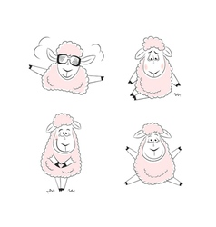 Funny sheep character design vector