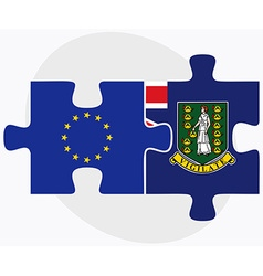 European union and virgin islands british flags vector