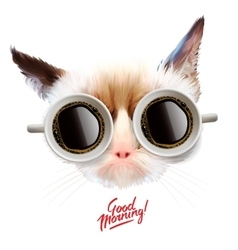Good morning funny cat with cups of coffee vector