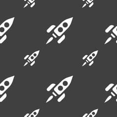 Rocket icon sign seamless pattern on a gray vector