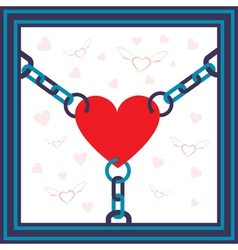 chained heart vector image