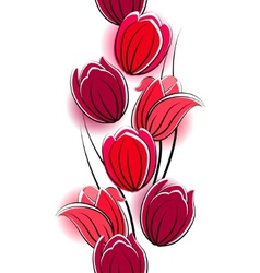 seamless vertical border with red tulips vector image