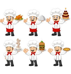 Cartoon chef collection set isolated vector image