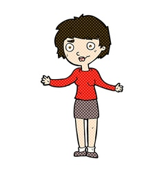 Comic cartoon confused woman vector
