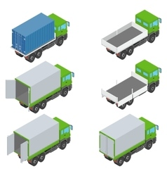 Isometric set of different trucks vector
