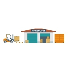 Forklift carries a box in storage vector