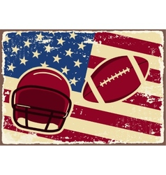 American football label with helmet and flag vector