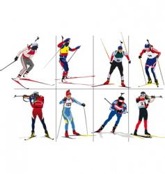 biathlon skiers vector image