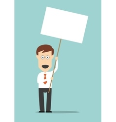 Businessman holding blank signboard with copyspace vector