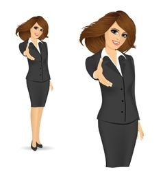 businesswoman giving a hand for handshake vector image vector image