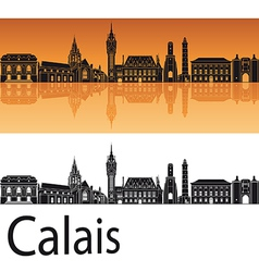 Calais skyline in orange background vector image vector image