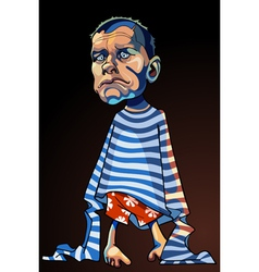cartoon caricature of a sad man in a striped vest vector image